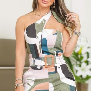 NEW Beautiful Knotted Detail Abstract Print Romper